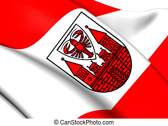 Flag of Cottbus, Germany. Close Up.