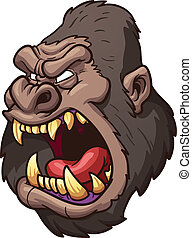 Cartoon gorilla - Angry gorilla head Vector clip art...