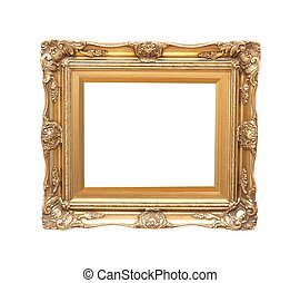 Frame - Empty, decorated picture frame isolated on white