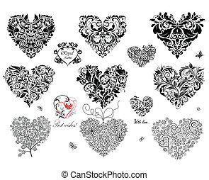 Black decorative hearts