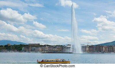 Timelapse of Geneva water fountain - 4K Timelapse of the...