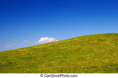 Green grass hill with clear blue sky nature background.