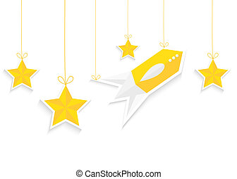 Rocket and stars isolated on white background. Vector EPS10.
