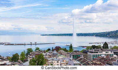 4K Timelapse of Geneva water fountain from the Saint-Pierre...