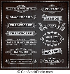 Banners, frames and ribbons - Vintage design elements -...