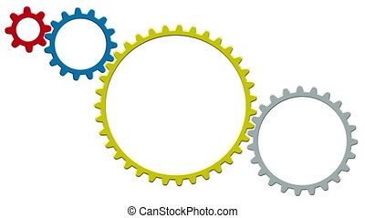 Technology concept with gears on white background. 4K