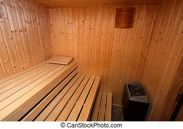Sauna - Interior of a wooden finnish sauna