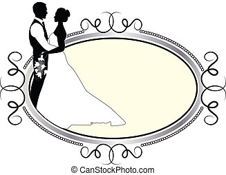 bride and groom with silver frame