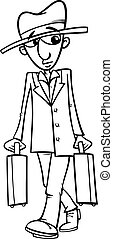 man with suitcases coloring page - Black and White Cartoon...