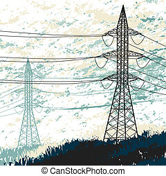 High voltage pylon Grunge illustration