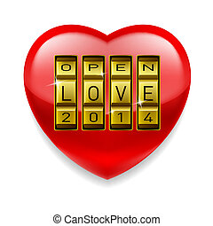 Open Love heart - Shiny red heart with Open Love 2014 as...