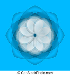 Abstract flower on blue background