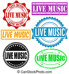 Live music stamp - Set of live music grunge rubber stamps on...