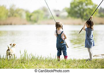 dois, pequeno, meninas, pesca