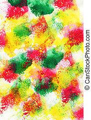Colored watercolor brush strokes