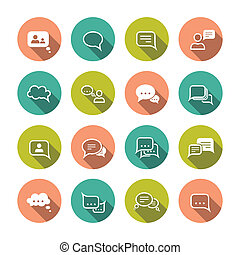 Chat Bubbles Icons - Chat message speech talk text bubble...