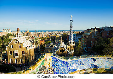 Parc Guell, Barcelon - Views from the Parc Guell designed by...