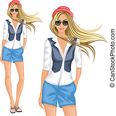 Blond hipster girl - Blond hipster female girl character...