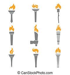 fuego, antorcha, iconos
