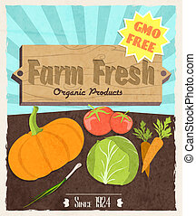 Vegetable retro poster - Vegetable food farm fresh retro...