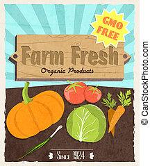 Vegetable retro poster - Vegetable food farm fresh retro...