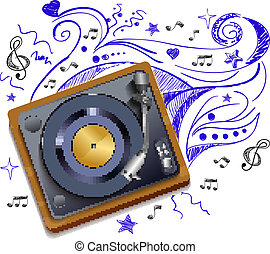 Music doodle vinyl record player - Vintage retro vinyl...
