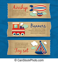 Transport toy banners - Toy transport torn paper cartoon...