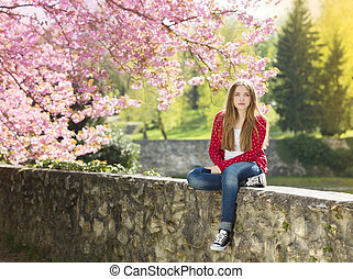 Beautiful spring girl - Beautiful girl in red cardigan...