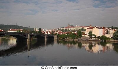 View at the Prague Castle in Hradcany district over Vltava...