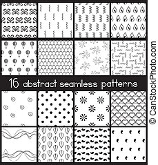 Black And White Simple Patterns - Set of 16 contrast...