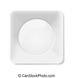 White plate - Empty white square flat plate isolated on...