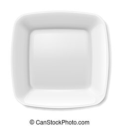 White plate - Illustration of empty white plate with rounded...