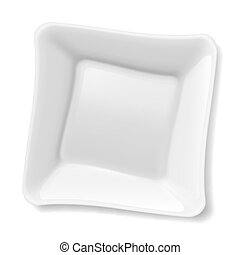 White plate - Illustration of empty square white plate...