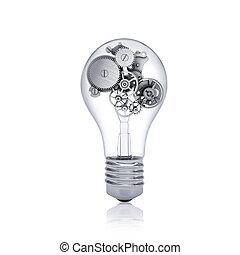 Gears inside the bulb Concept of teamwork