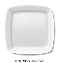 White plate - Empty white square plate with rounded borders...