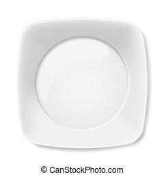 White plate - Illustration of empty white flat plate...