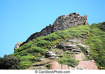 Hastings Castle, East Sussex, England, UK is a 11th century...