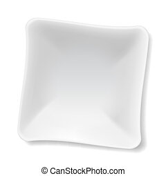 White plate - Illustration of empty white soup-plate...