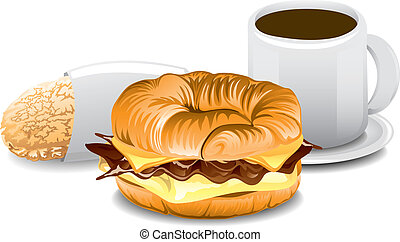 Complete Breakfast - Illustration of a fast food breakfast