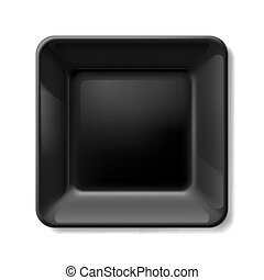 Black plate - Black square plate isolated on white...