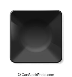 Black plate - Empty black soup-plate isolated on white...