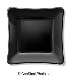 Black plate - Illustration of flat black dish isolated on...