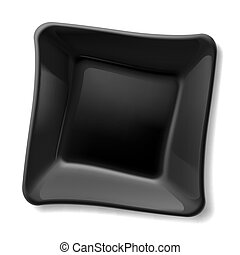 Black plate - Empty square black plate isolated on white...