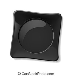 Black plate - Illustration of empty black dish on white...