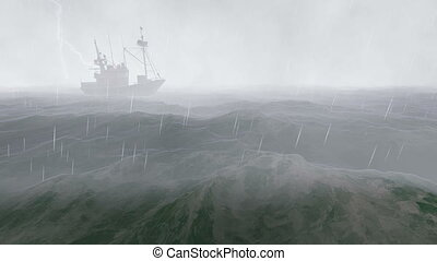 Fishing boat in the stormy night - Realistic three...