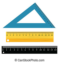 set of rulers - colorful illustration with set of rulers on...