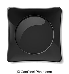 Black plate - Empty black dish isolated on white background