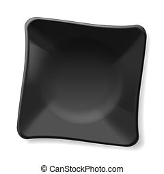 Black plate - Empty black plate isolated on white background...