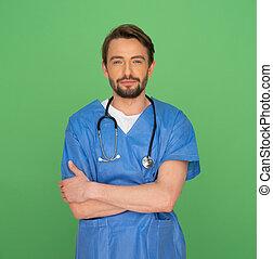 confiante, amigável, jovem, macho, doutor, ou,...