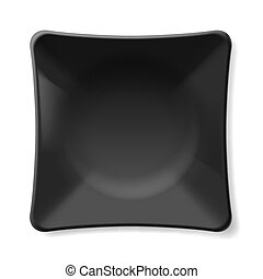 Black plate - Illustration of empty black plate isolated on...